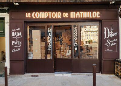 Enseigne lumineuse rétro-éclairage Le Comptoir de Mathilde